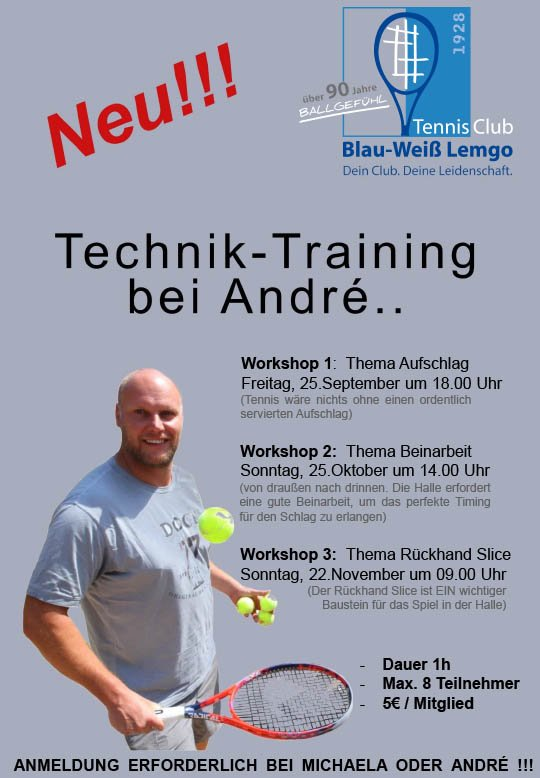 Tennisclub Blau-Weiß Lemgo | Workshop Techniktraining