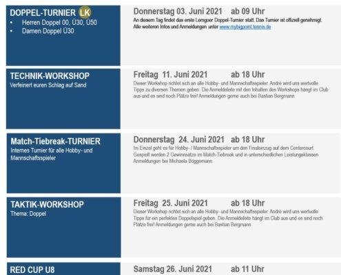 Sommerprogramm JUNI 2021   Tennisclub Blau-Weiß Lemgo